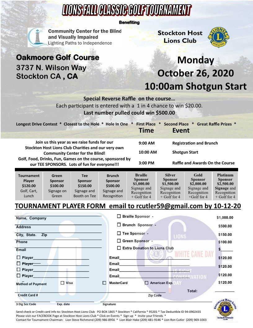 Lions Fall Classic Golf Tournament flyer