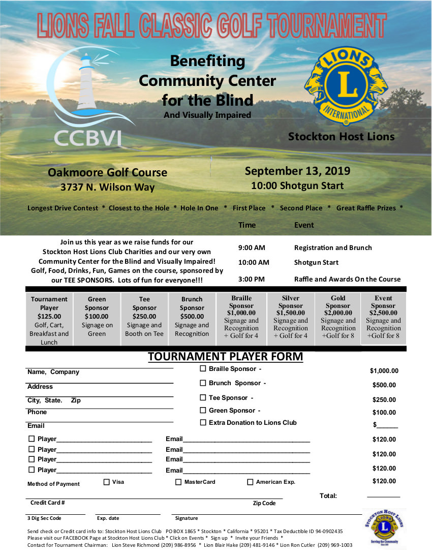 Lions Fall Classic Golf Tournament Flier on September 13th 2019